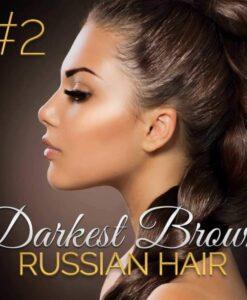 Darkest Brown Russian Double Drawn Hair Extensions 100G #2 Darkest Brown Russian Hair